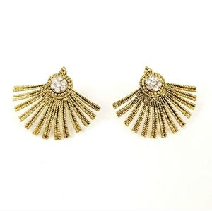 Antiqued Gold Rhinestone Fan Earrings